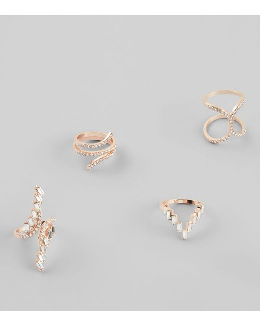 New Look | Metallic 4 Pack Gold Embellished Rings | Lyst