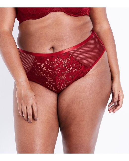 New Look - Red Curves Burgundy Lace And Fishnet Brazilian Briefs - Lyst