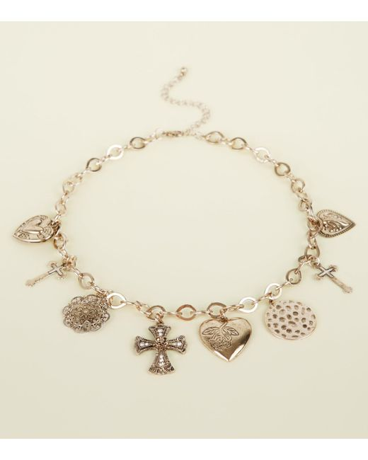 New Look - Metallic Gold Heart And Cross Charm Chain Necklace - Lyst