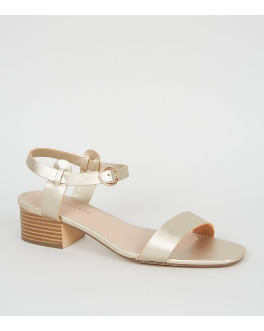 752f3bcbaff07 New Look Gold 2 Part Low Block Heel Sandals in Metallic - Lyst