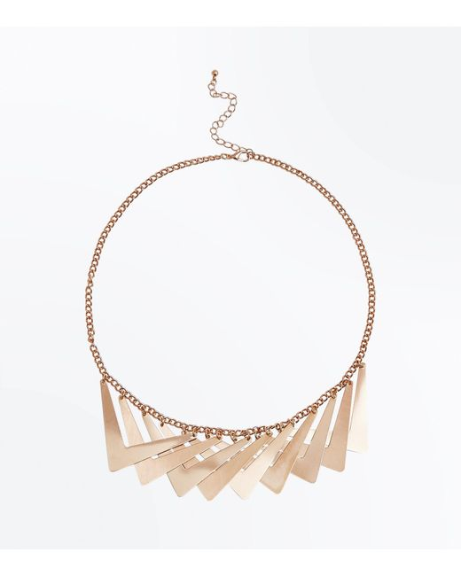 New Look | Metallic Gold Overlapping Geometric Necklace | Lyst