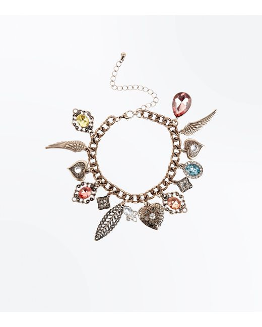 New Look | Metallic Gold Gem Charm Bracelet | Lyst