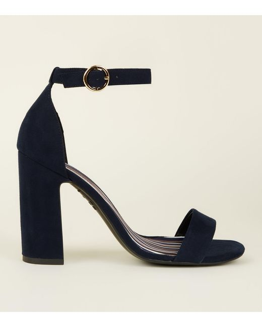 9f2d77cbd4b1f New Look Navy Suedette Stripe Lined Block Heels in Blue - Save 14 ...