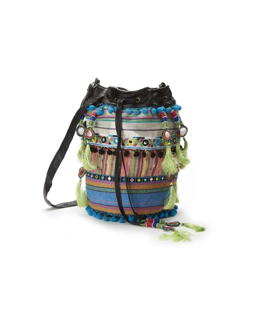 Nicole Miller - Multicolor Striped Fabric Bucket Bag - Lyst