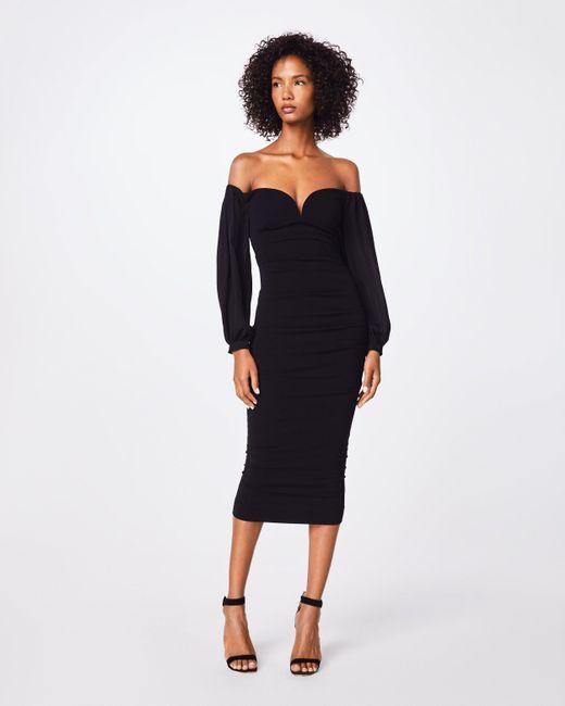 Lyst Nicole Miller Structured Heavy Jersey Plunge Dress In Black
