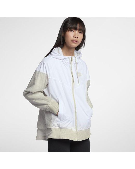 Lyst - Nike Sportswear Windrunner Women s Jacket in White 3b5ed6d21