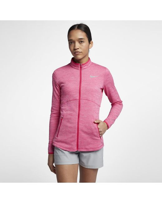 208b2773110e Lyst - Nike Dry Women s Golf Jacket in Pink