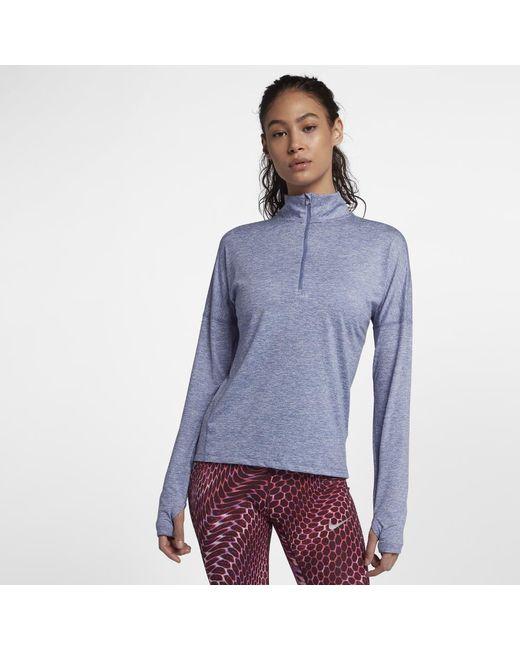 0da2b55df291 Lyst - Nike Dri-fit Element Women s Long Sleeve Running Half-zip Top ...