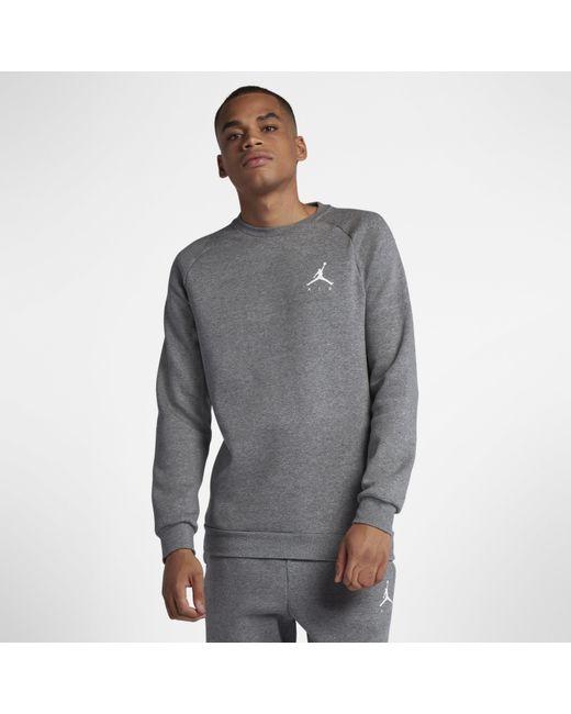 eafcbb79a1080c Nike - Gray Jordan Jumpman Fleece Crew for Men - Lyst ...