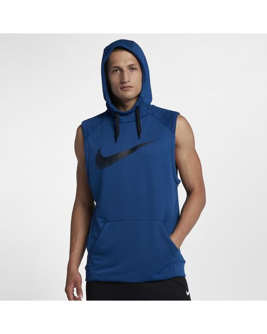 5451bc5ce832 Lyst - Nike Dri-fit Men s Sleeveless Training Hoodie in Blue for Men