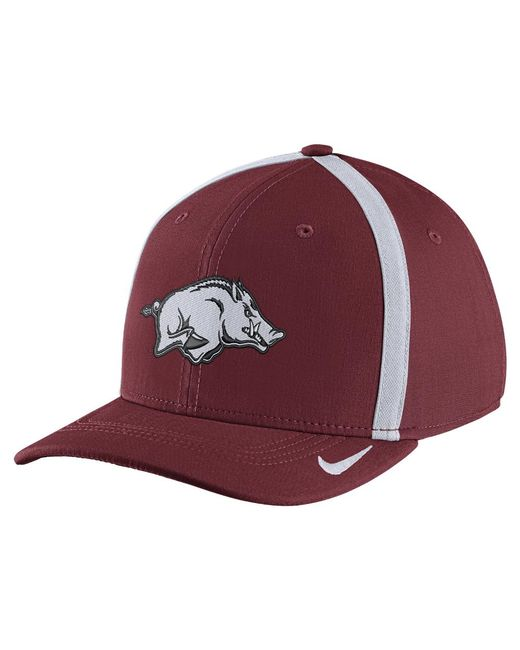 Nike - Red College Aerobill Swoosh Flex (arkansas) Fitted Hat for Men - Lyst