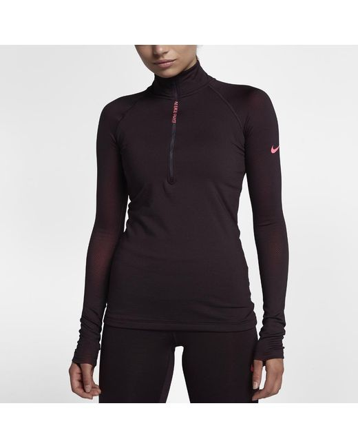 2300fc4ee0f5d Lyst - Nike Pro Hyperwarm Women s Long Sleeve Training Top in Black