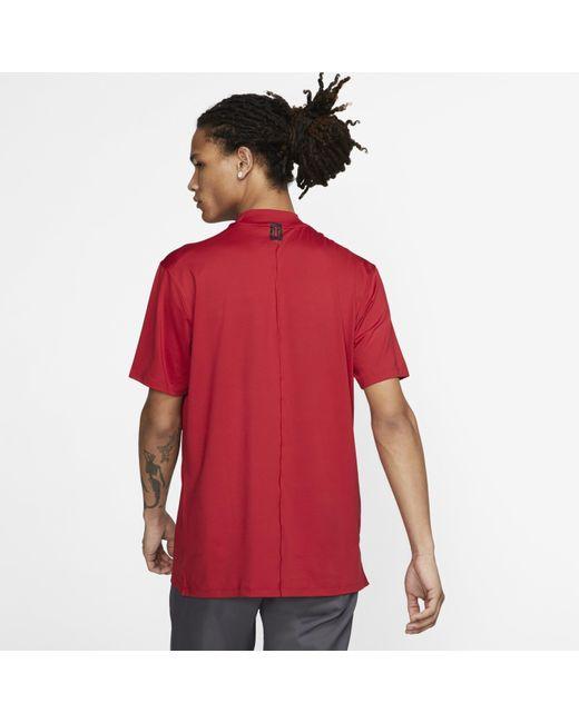 8afe7cf0 ... Nike - Red Dri-fit Tiger Woods Vapor Mock-neck Golf Top for Men ...