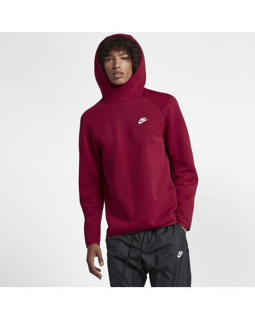 Lyst - Nike Sportswear Tech Fleece Men s Pullover Hoodie in Red for Men 84baf1414d3e