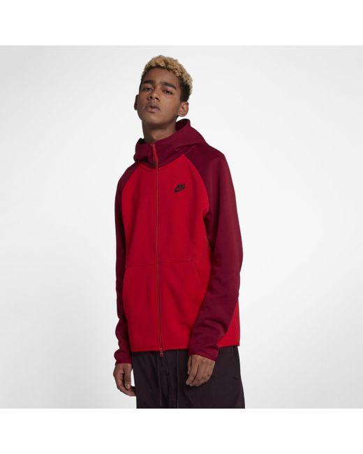 4711bd5343 Nike Sportswear Tech Fleece Full-zip Hoodie in Red for Men - Lyst