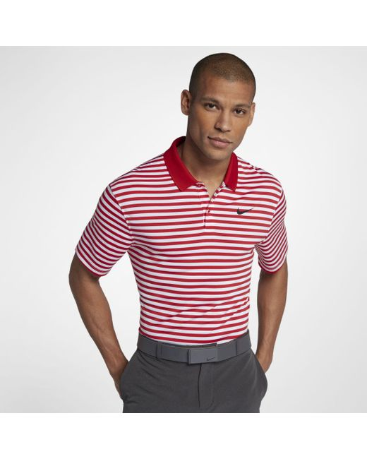 1720480a Nike - Red Dri-fit Victory Striped Golf Polo for Men - Lyst ...