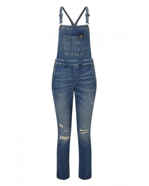 7 For All Mankind - Blue Distressed Overall - Lyst