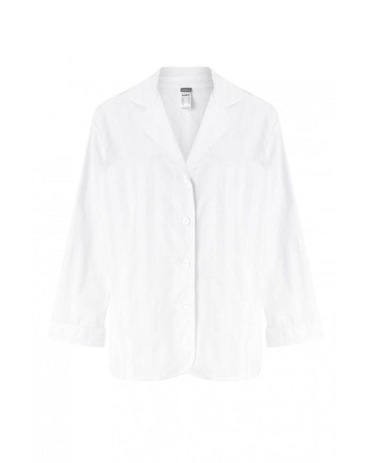 Bodas - White Shadow Stripe Pyjama Shirt - Lyst
