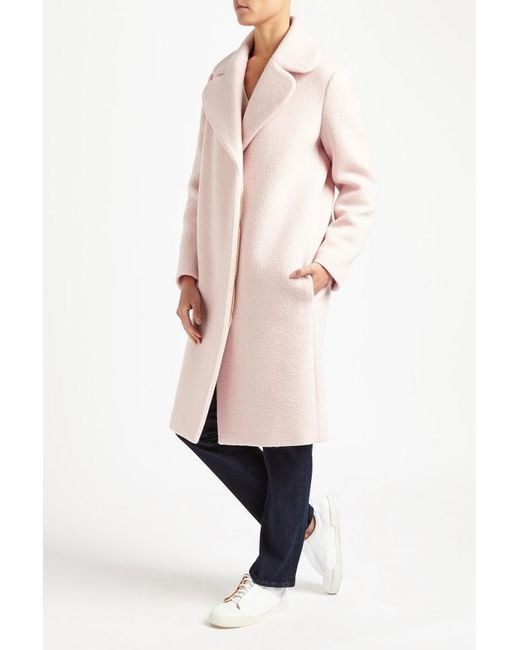 Maje Gymon Boiled Wool Long Coat in Pink - Save 58% | Lyst