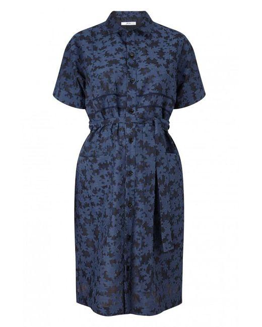 Julien David - Blue Floral Shirt Dress - Lyst