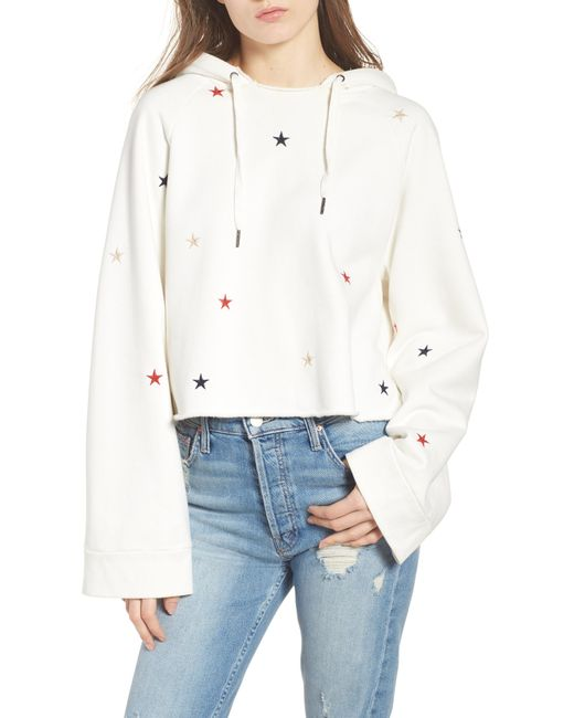 Pam & Gela - White Crop Hooded Sweatshirt - Lyst