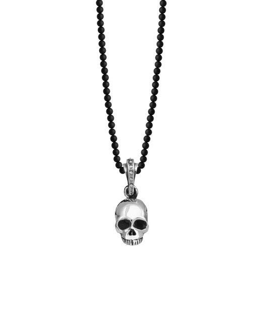 King Baby Studio - Metallic 'hamlet' Sterling Silver & Onyx Skull Pendant Necklace for Men - Lyst
