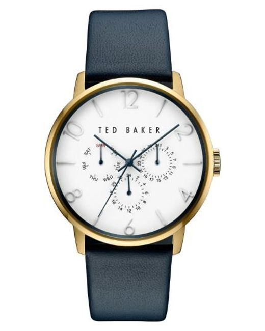 Ted Baker | Metallic Multifunction Leather Strap Watch | Lyst
