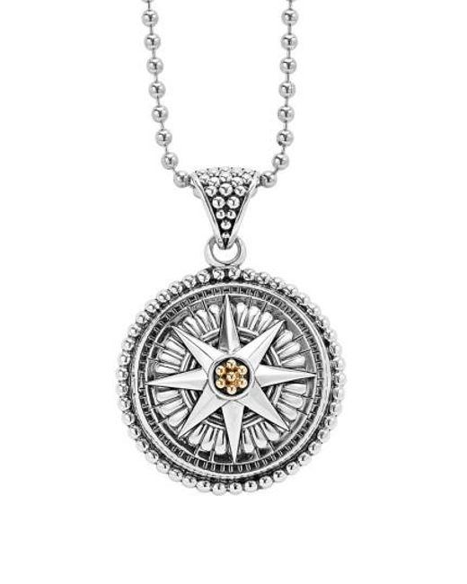 Lagos | Metallic Signature Caviar Compass Pendant Necklace | Lyst