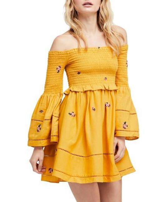 Free People - Yellow Counting Daisies Embroidered Off The Shoulder Dress -  Lyst