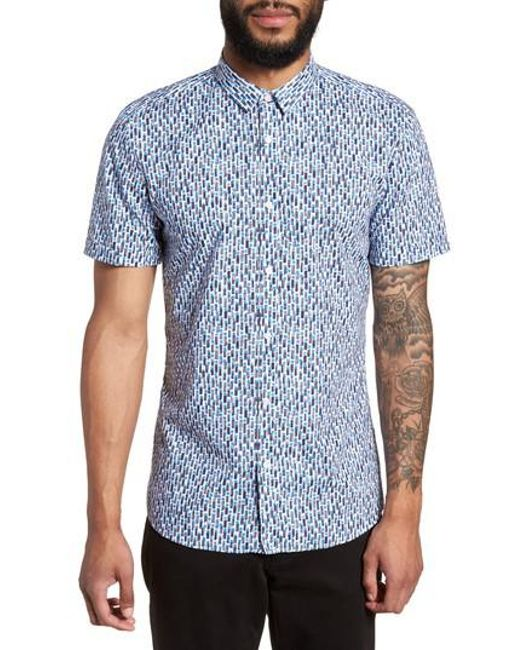 HUGO - Blue Empson Trim Fit Print Short Sleeve Sport Shirt for Men - Lyst