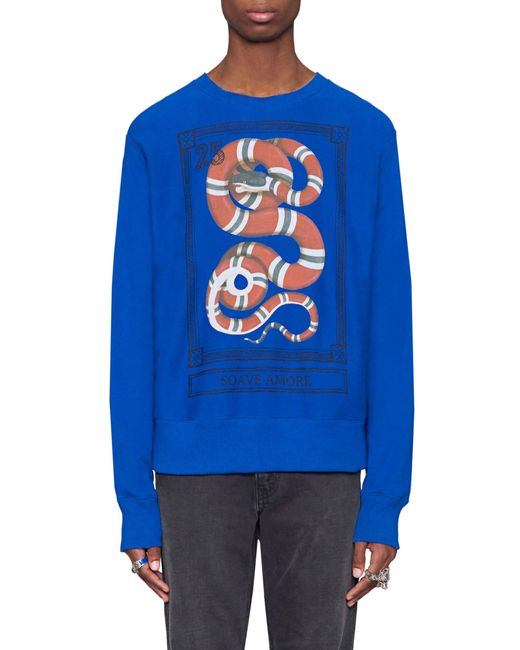 Gucci - Blue Snake Stamp Graphic Crewneck Sweatshirt for Men - Lyst