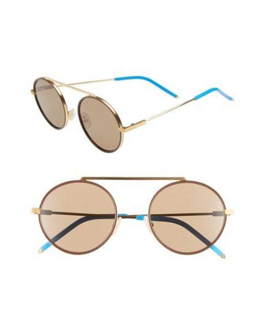 abb29431f33 Lyst - Fendi 54mm Round Sunglasses in Metallic for Men