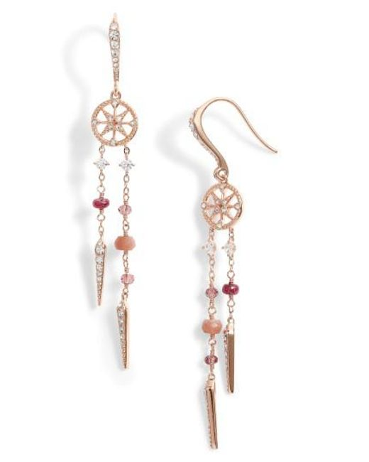 Nadri | Multicolor Crystal & Semiprecious Stone Drop Earrings | Lyst