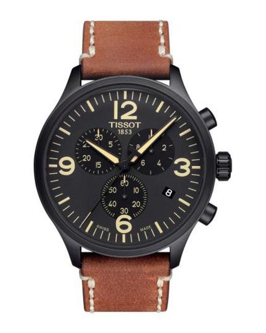 Tissot | Black Chrono Xl Leather Strap Chronograph Watch for Men | Lyst
