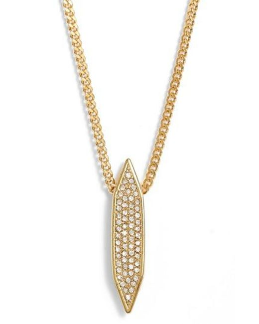 Vince Camuto | Metallic Pave Pendant Necklace | Lyst