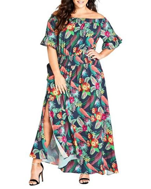 City Chic - Blue Jungle Jam Maxi Dress - Lyst