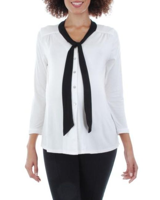 Everly Grey | Black 'kitty' Tie Neck Maternity Top | Lyst