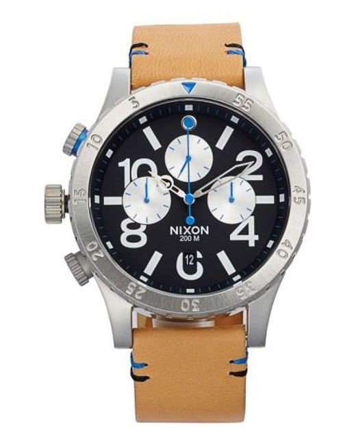 Nixon | Brown 'the 48-20' Chronograph Leather Strap Watch for Men | Lyst