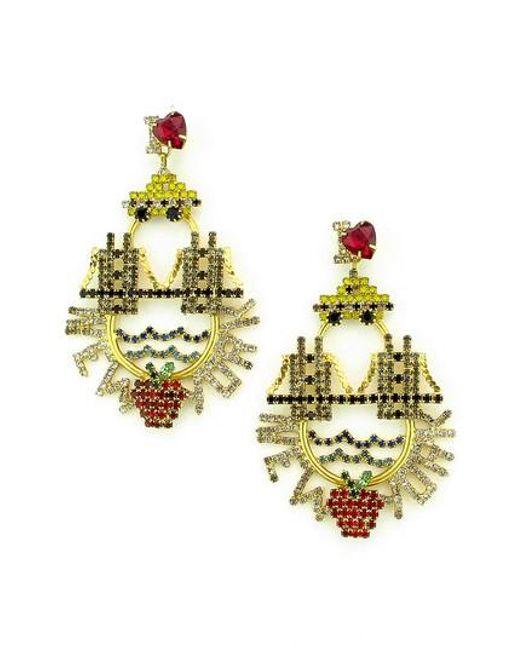 Elizabeth Cole | Metallic I Love New York Crystal Drop Earrings | Lyst