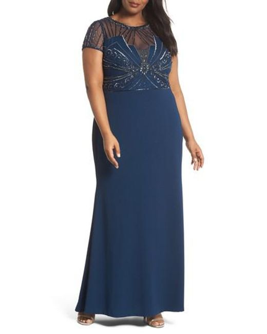 049ac327d61ae Lyst - Adrianna Papell Beaded Bodice Crepe Gown in Blue