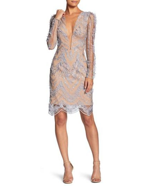 Dress the Population - Natural Jamie Lace Sheath Dress - Lyst