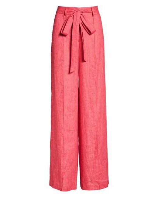MILLY - Pink Hayden Belted Wide Leg Italian Linen Pants - Lyst