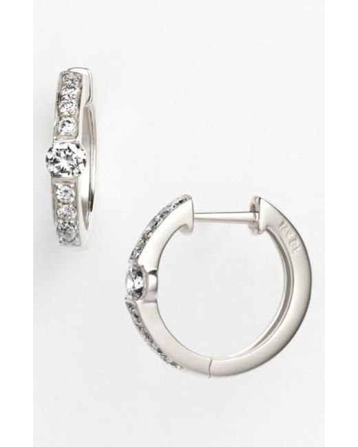Bony Levy | White 'linea' Small Diamond Hoop Earrings (nordstrom Exclusive) | Lyst