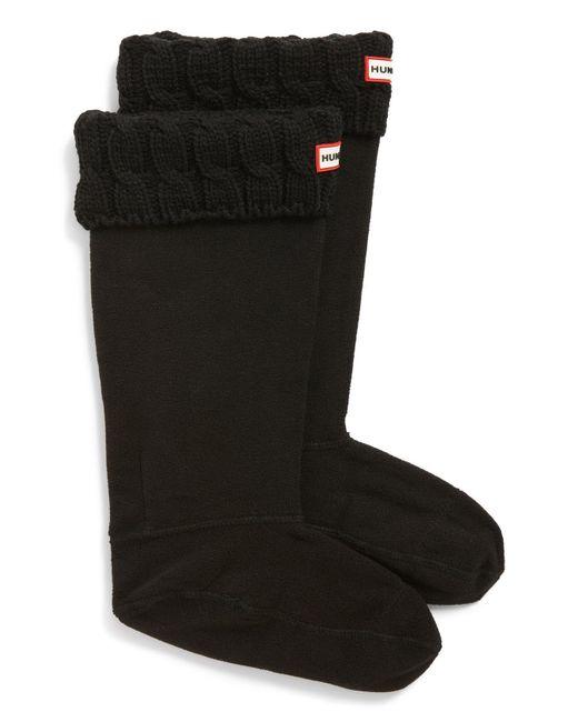 Hunter - Black Original Tall Cable Knit Cuff Welly Boot Socks - Lyst