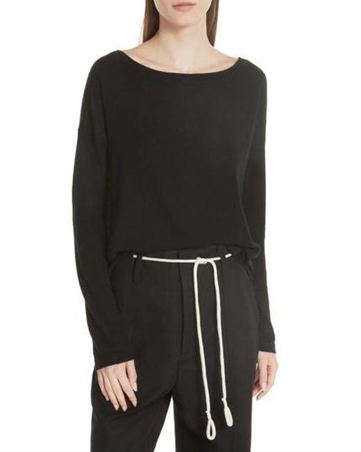 Vince - Black Cinched Back Cashmere Sweater - Lyst