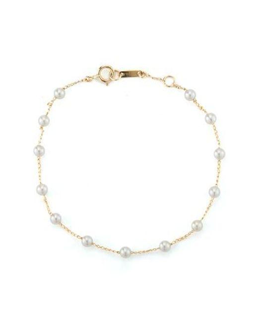 Mizuki - Metallic Genuine Pearl Station Bracelet - Lyst