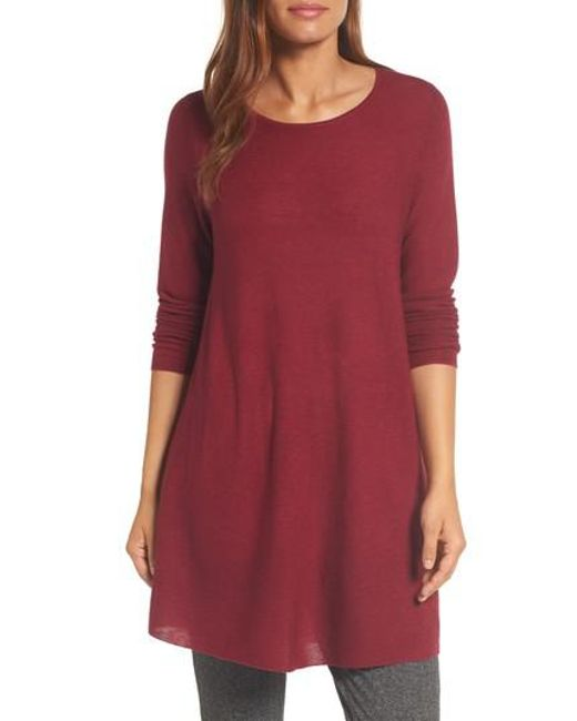 Eileen Fisher | Red Jewel Neck Tunic Sweater | Lyst