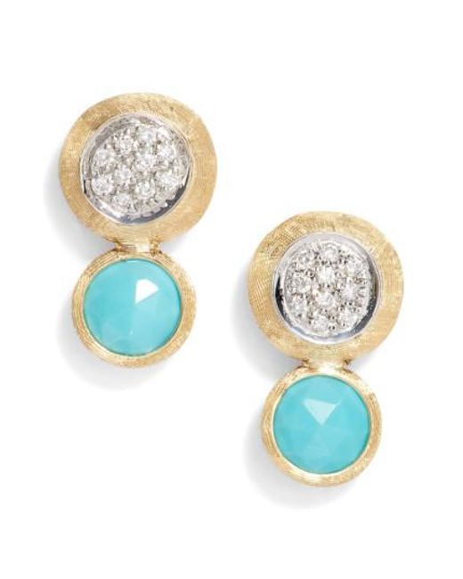 Marco Bicego - Blue Jaipur Diamond & Turquoise Stud Earrings - Lyst