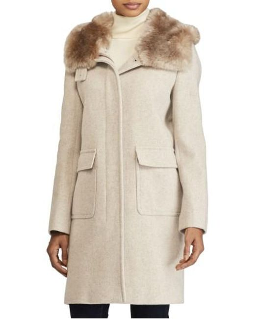 Lauren by Ralph Lauren | Natural Hooded Coat With Faux Fur | Lyst