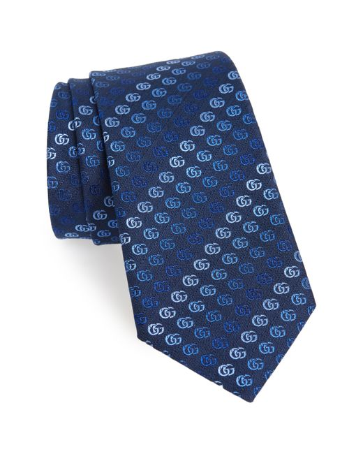 491d80b324d Lyst - Gucci Soft Running Gg Silk Tie in Blue for Men - Save 17%